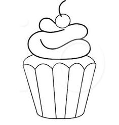 Black and White Cupcake Outline - Bing Images Cupcake Coloring Pages, Colouring Pages, Coloring Sheets, Coloring Books, Applique Templates, Applique Patterns, Applique Designs, Embroidery Applique, Cupcake Outline