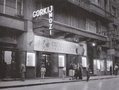 """The """"Gorkij"""" cinema in the late This cinema located in the district of Budapest used to showcase soviet films but its popularity was quite low among Hungarians who preferred western movies. Anno Domini, Western Movies, Budapest Hungary, Old Pictures, Historical Photos, History, Retro Vintage, Monochrome, 1950s"""