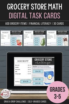 Develop your student's financial literacy with these digital task card activities that cover adding grocery items. Each card will display three to six items. Students find the sum, select the correct answer from the available options and drag the total into the empty box. Great activity for math rotations and revision! #grade5moneyactivity #grade4addingmoney #mathcenteractivity #addingmoney #sweetsmellofteaching #decimaloperations #moneytaskcards #addingdecimalsactivity #digitaltaskcardsmath Math Rotations, Math Centers, Learning Resources, Teacher Resources, Teaching Math, Teaching Ideas, Mathematics Games, Math Challenge, Learning Cards