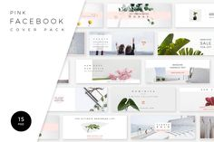 Pink Facebook Cover Pack by Swiss_cube on @creativemarket