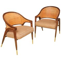 Wormley Caned Armchairs | From a unique collection of antique and modern armchairs at https://www.1stdibs.com/furniture/seating/armchairs/