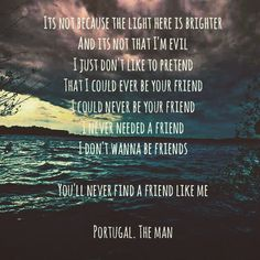 Evil Friends by Portugal. The Man.  #portugaltheman #quotes