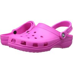 Crocs Classic Clog (Neon Magenta) Clog Shoes ($22) ❤ liked on Polyvore featuring shoes, clogs, pink, arch support shoes, croco shoes, crocs shoes, clog shoes and strap shoes