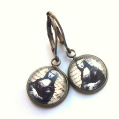 Mona Lisa Earrings Boho Famous Painting Valentines Day Glass