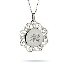 Really pretty and like the different take, but may be too small?  Vintage Scroll Design Engravable Sterling Silver Monogram Pendant