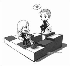 Inception Ariadne & Arthur<<<my ship!!! Just watched this the other day and I am all too pleased to find fanart! I love how they are sitting on the paradox stairs!