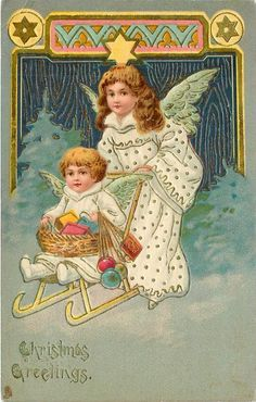 CHRISTMAS GREETINGS  smaller angel-child pushed on sled by another, ornate design above