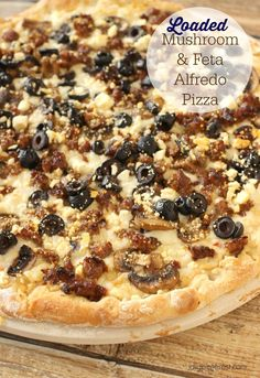 Loaded Mushroom & Feta Alfredo Pizza