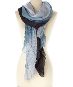 Look at this Luna Luz Black Tie-Dye Popcorn Silk Scarf on #zulily today!