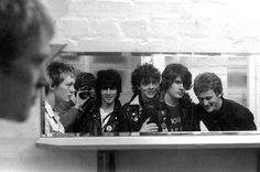 Band: Crash Course - Date: September 1978 - Andy Eastwood - vocals, Mick Reid - lead guitar/vocals, Pete Wylie - rhythm guitar/vocals, Paul Cunningham - bass, Rob Jones - drums, plus Wayne Shields (Photographer)