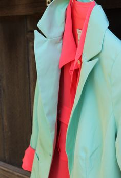 mint blazer and coral blouse = <3