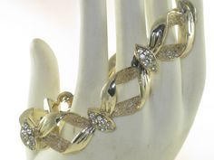 Vintage Gold Tone Clear Rhinestone Link by delightfullyvintage