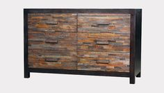 A lovely dresser made of tropical hardwood reclaimed from ok'd buildings in Brazil. Such lovely colors. Environment