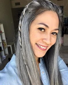 No matter your style or personality, there is a mermaid hair look that was made for you. Get ready to apply your love for color to your hair. Grey Hair Styles For Women, Natural Hair Styles, Long Hair Styles, Long Gray Hair, Silver Grey Hair, White Hair, Gray Hair Growing Out, Grow Hair, Grey Hair Looks