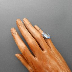 Art Deco Ring Filigree & Ice Blue Glass by pinguim on Etsy, $80.00