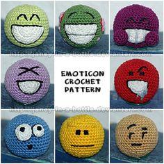 Emoticon Crochet Pattern 1 & 2 by janey-in-a-bottle on DeviantArt // http://janey-in-a-bottle.deviantart.com/art/Emoticon-Crochet-Pattern-2-322079098: