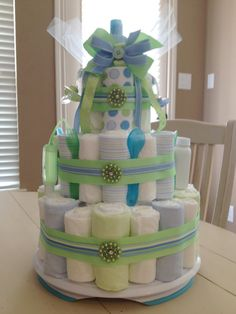 Diaper Cake Perfect for Showers Gifts by artfulnaturealamode, $85.00