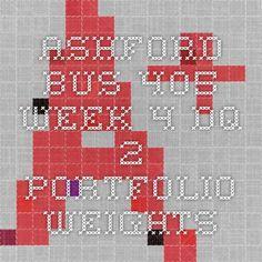 ASHFORD BUS 405 Week 4 DQ 2 Portfolio Weights