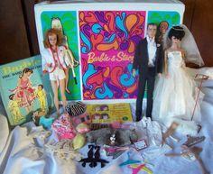Vintage Barbie Lot Dolls Clothes Acc. Stacey Mod Barbie & Ken Wedding Old MATTEL