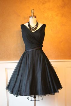 1950s Dress Vintage 50s Dress Black Silk Chiffon by jumblelaya