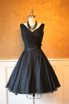 1950s Dress Vintage 50s Dress Black Silk Chiffon by jumblelaya - love this cocktail dress!
