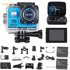 HD 1080P WiFi Underwater Camera Waterproof Diving 98ft 170 Degree Wide Angle 2.0 inch LCD Display Action Cam with 2PCS Battery and Outdoor Accessories Kits Helmet Cam Bicycle Action Camera for Kids Biking Riding Racing Skiing Motocross and Water Sports (Blue)