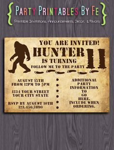 Printable Birthday Party Invitation ~ Bigfoot Big Foot Sasquatch Yeti  Birthday ~ I155