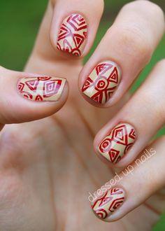 China Glaze On Safari nail art - China Glaze Kalahari Kiss, China Glaze Adventure Red-y - LOVE that red!