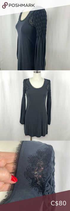Free People Grey Jersey Smocked Dress with Lace This Free People dress is in excellent, like new, condition. The black lace insets and edging around neckline as well as the smocking on the sleeves make it so pretty. Great as a dress or wear it with leggings. 100% polyester so it's washable and doesn't crease easily. Super comfortable. Free People Dresses Mini Mini Shirt Dress, Long Sleeve Mini Dress, Boho Dress, Lace Dress, Mini Skater Skirt, Slip Skirts, Lace Inset, Mesh Dress, Military Fashion