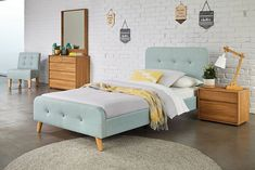 Blue Calypso King Single Bed Frame by Nero Furniture Big Beds, Large Beds, Buy Beds Online, King Single Bed, Bedroom Furniture, Bedroom Decor, Affordable Bedding, Headboards For Beds, Bed Sizes