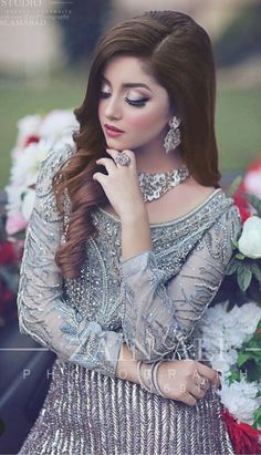 Image may contain: one or more people Pakistani Wedding Outfits, Pakistani Wedding Dresses, Bridal Poses, Bridal Shoot, Bridal Photoshoot, Wedding Dresses For Girls, Blue Bridesmaid Dresses, Beautiful Bride, Beautiful Dresses