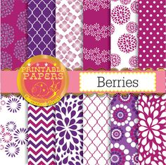 Raspberry digital paper Berries purple digital paper in 12 raspberry red and purple backgrounds #etsymnt #etsyretwt