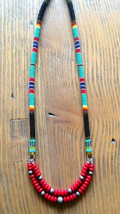 """JWS- Serape Necklace 20"""", Sterling Silver Stamped Beads, Coral Rondelles"""