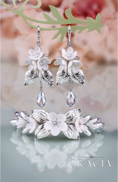 BIA Flower Silver Crystal Bridal Jewelery Set Bracelet and Earrings by TopGracia    #topgraciawedding