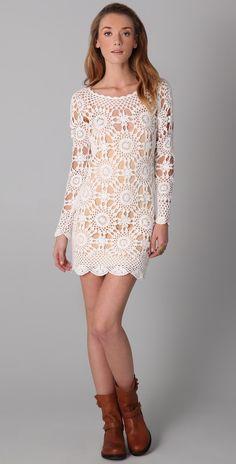 White Crochet dress with circle motif Crochet Tunic, Crochet Clothes, Knit Crochet, Crochet Granny, Crochet Motif, Knit Dress, Lace Dress, Mini Vestidos, Crochet Woman