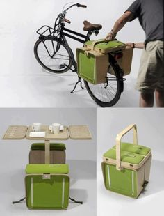 bike rack picnic basket with table and chairs by bloon design