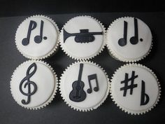 Black and white musical cupcakes