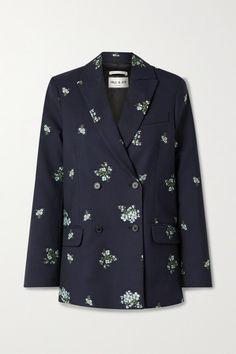 Paul & Joe Costa Rica Double-breasted Cotton-blend Floral-jacquard Blazer In Midnight Blue Paul Joe, Suit Jackets For Women, Jackett, Jackets Online, Midnight Blue, World Of Fashion, Blazer Jacket, Double Breasted, Sportswear