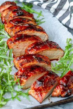 BBQ Grilled Pork Tenderloin -- this grilled pork tenderloin recipe is equally perfect for an easy weeknight dinner or weekend cookout! A simple combination of olive oil, pork run, and your favorite…More Bbq Recipes Sides, Rib Recipes, Grilling Recipes, Healthy Recipes, Barbecue Recipes, Easy Recipes, Grilled Pork Tenderloin Rub, Pork Tenderloin Recipes, Pork Tenderloin Recipe Pioneer Woman