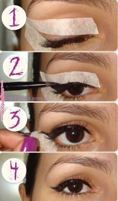 Creating the Perfect Cat Eye Wing Using Tape Makeup Mania eye makeup using tape - Eye Makeup Winged Eyeliner With Tape, Eyeliner Tape, Tape Makeup, Winged Eyeliner Tutorial, Cat Eyeliner, How To Apply Eyeliner, Winged Liner, Eyeliner Hacks, Purple Eyeliner