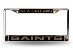New Orleans Saints Black Laser-Etched Chrome License Plate Frame