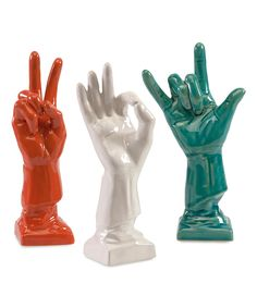 IMAX Vibrant Cohen Ceramic Hand Décor Set These ceramic hands are steeped in contemporary appeal and lend your space a relaxed, playful vibe.