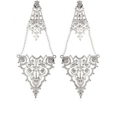 IAM by Ileana Makri Chantilly Lace Chandelier Earrings ($267) ❤ liked on Polyvore featuring jewelry, earrings, accessories, brincos, orecchini, lace jewelry, earring jewelry, lace earrings, chandelier jewelry and chandelier earrings