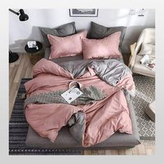 Bedding Solid Simple Bedding Set Modern Duvet Cover Set King Queen Full Twin Bed Linen Brief Bed Flat Sheet Set Twin Bed Linen, Bed Linen Sets, Modern Duvet Covers, Bed Duvet Covers, Pink Bedding, Duvet Bedding, Luxury Bedding, Twin Bedding Sets, Comforters Bed
