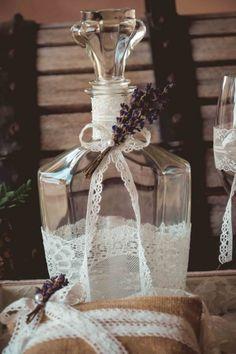 σετ γαμου δίσκος-καράφα-ποτήρι Glass Vase, Wedding Planning, Lavender, Weddings, Decor, Decoration, Mariage, Wedding, Decorating