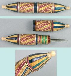 Antique English Straw Work Needle Case; Circa 1880