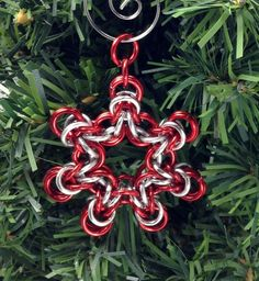Red and Silver Chainmaille Snowflake Christmas by GutsyGirlJewelry, $15.00