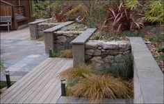 #landarch mixed material wall by huettl landscape architecture