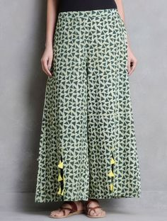 Buy Green Lemon Dabu Printed Tassel Detail Elasticated Palazzos by Indian August Cotton Apparel Pant Salwar Designs, Kurti Neck Designs, Blouse Designs, Indian Dresses, Indian Outfits, Sewing Clothes Women, Clothes For Women, Pallazo Pants, Fashion Pants