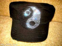BLaCk CADET HAT/CAP★BLiNg CRYSTAL RHINESTONE Small Ying-Yang★NWT
